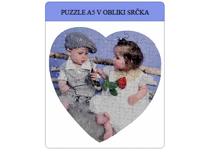 Puzzle oblike srčka A5 iz 75 kosov